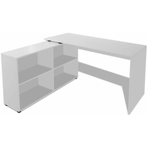 vidaXL Escritorio de Esquina 4 Estantes Mesa de Oficina Estudio Hogar Ordenador Estantería Librería Moderno Almacenamiento Multicolor