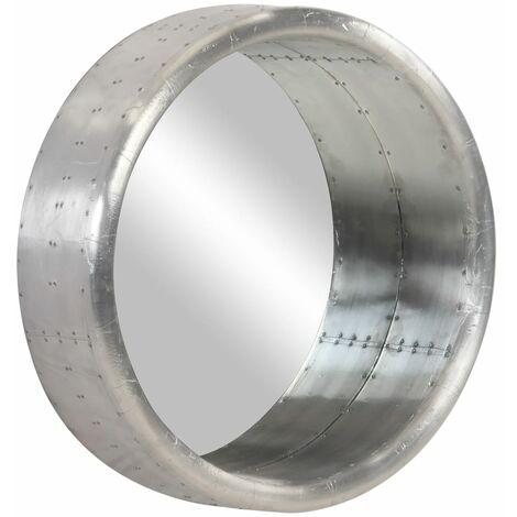 vidaXL Espejo aviador de metal 68 cm - Plateado