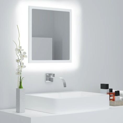 "main image of ""vidaXL Espejo de baño con LED aglomerado blanco 40x8,5x37 cm - Blanco"""