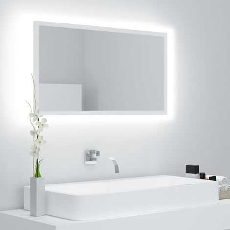 "main image of ""vidaXL Espejo de baño con LED aglomerado blanco 80x8,5x37 cm - Blanco"""