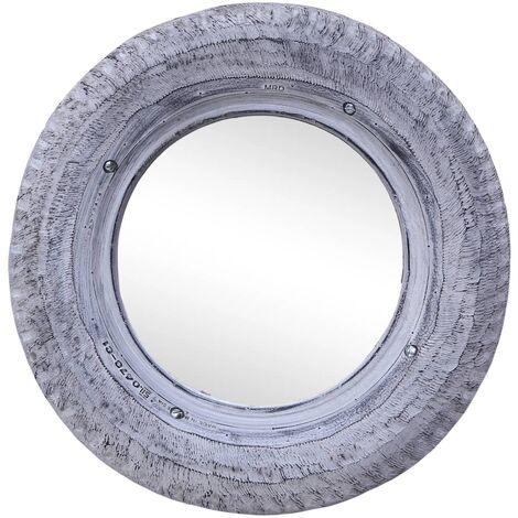 vidaXL Espejo de caucho de neumático reciclado blanco 50 cm - Blanco