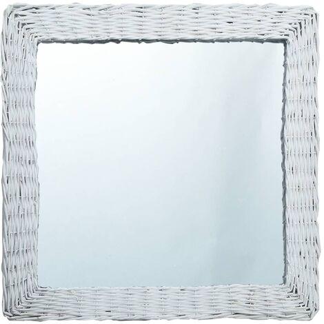 vidaXL Espejo de mimbre blanco 60x60 cm - Blanco
