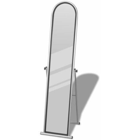vidaXL Espejo de Pie de Cuerpo Entero Vista Completa Tocador Habitación Vestido con Forma Rectangular y Ovalada Parte Superior de Acero Negro/Gris