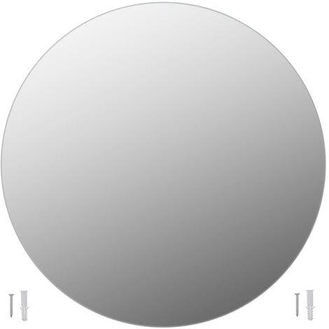 vidaXL Espejo sin marco redondo vidrio 80 cm - Plateado