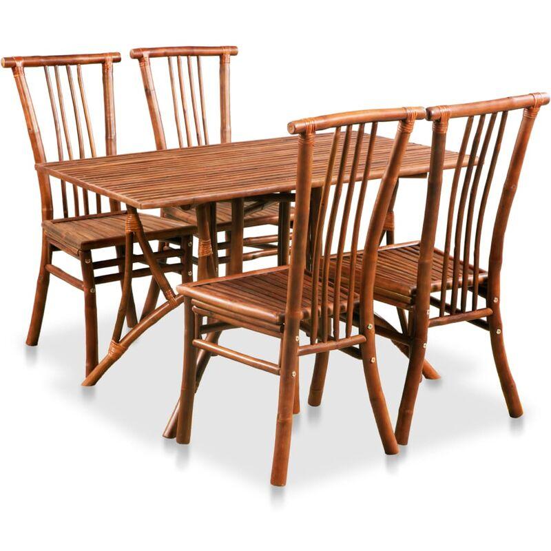 Vidaxl - Essgruppe 5-tlg. Bambus Rechteckiger Tisch