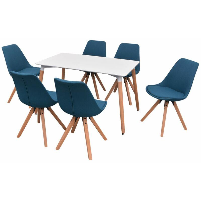Essgruppe Tisch Stühle Weiß Blau 7-tlg. - VIDAXL