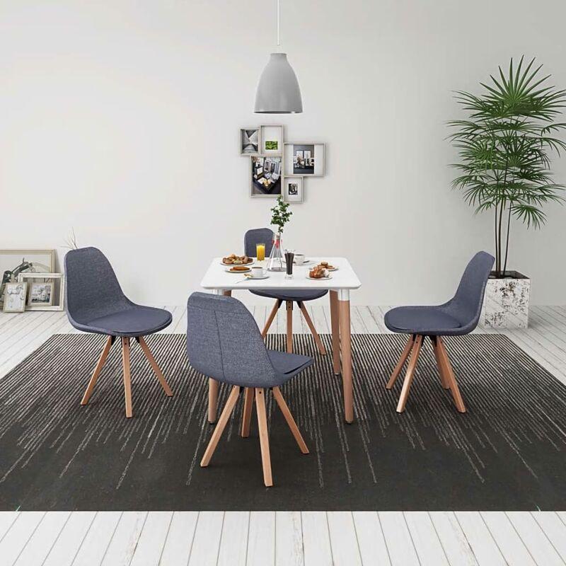 Essgruppe Tisch Stühle Weiß Hellgrau 5-tlg. - VIDAXL