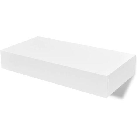 vidaXL Estante de Pared Flotante con Cajón Libros Almacenamiento Estudio Sala de Estar Dormitorio Blanco MDF 1 Unidad/2 Unidades 48 cm/80 cm