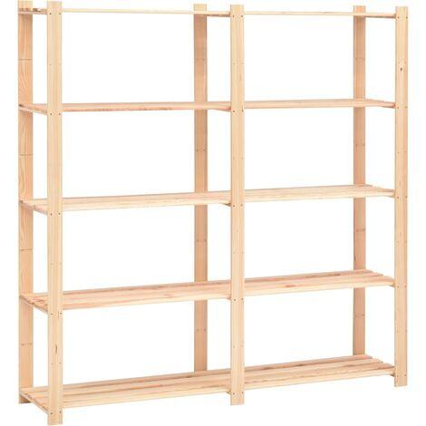 vidaXL Estantería almacenaje 5 niveles madera pino maciza 500 kg - Beige