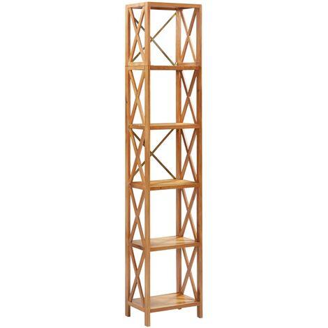 vidaXL Estantería de 6 niveles madera maciza de roble 40x30x205 cm - Marrón