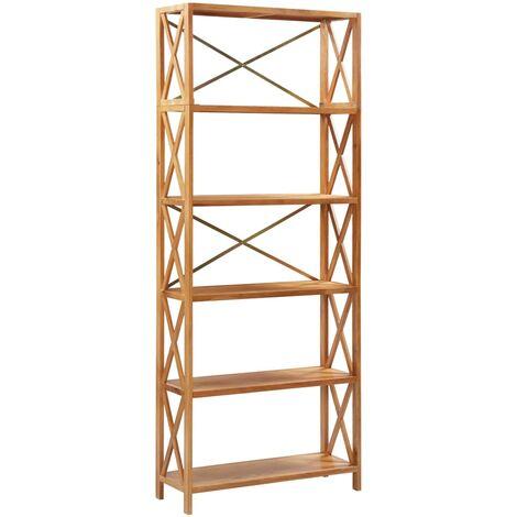 vidaXL Estantería de 6 niveles madera maciza de roble 80x30x205 cm - Marrón
