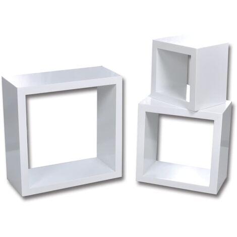 vidaXL Estantería de cubos para pared 6 unidades blanco - Bianco