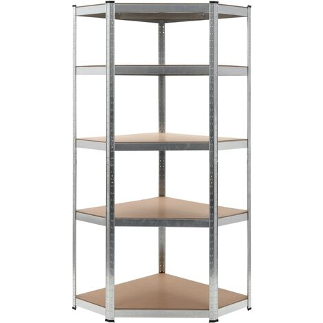 vidaXL Estantería Organizador Almacenamiento Muebles Estudio Libros Sala de Estar Dormitorio de Acero y MDF Plateado 90x90x180 cm/75x75x180 cm