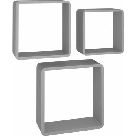 vidaXL Estanterías de cubos de pared 3 piezas MDF gris - Gris