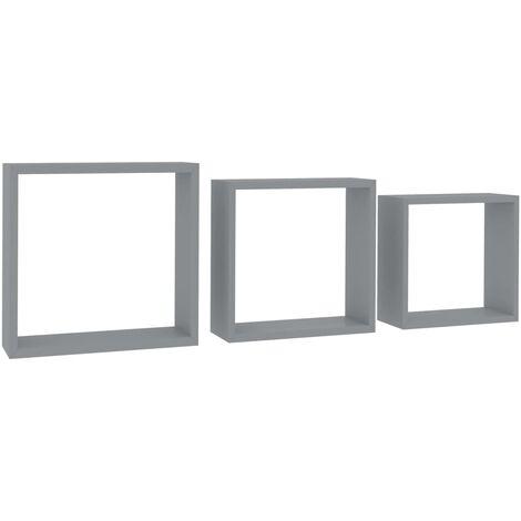vidaXL Estanterías de cubos para pared 3 piezas gris - Gris