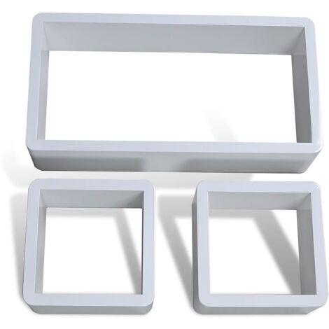 vidaXL Estanterías de cubos para pared 6 unidades blanco - Bianco