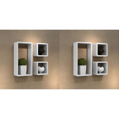 vidaXL Estanterias de cubos para pared 6 unidades blanco (no se puede enviar a Baleares)