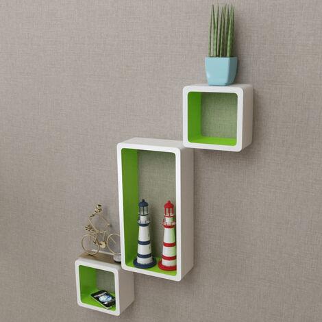 vidaXL Estanterias de cubos para pared 6 unidades blanco y verde (no se puede enviar a Baleares)