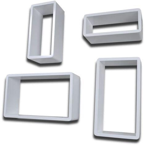 vidaXL Estanterías de cubos para pared 8 unidades blanco - Bianco