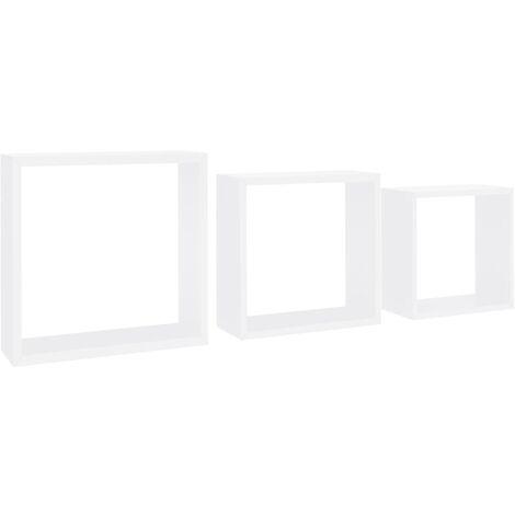 vidaXL Estantes de cubos para pared 3 piezas blanco - Blanco