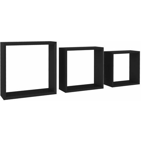 vidaXL Estantes de cubos para pared 3 piezas negro - Negro