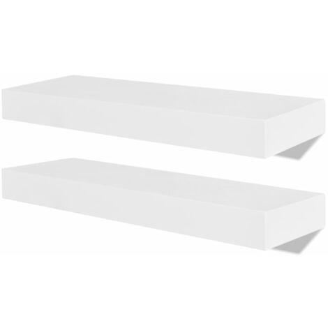 vidaXL Estantes de Pared Libros Organizador Almacenamiento Estudio Sala de Estar Dormitorio Blanco Diferentes Dimensiones 2/4 Unidades MDF