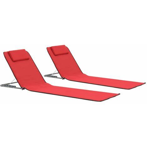 vidaXL Estera de playa plegable 2 unidade acero y tela rojo - Rojo