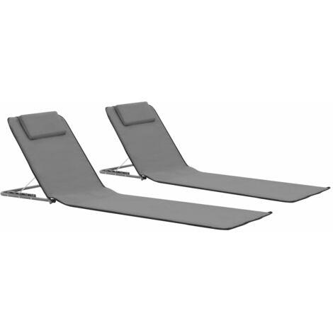 """main image of """"vidaXL Estera de playa plegable 2 unidades acero y tela gris - Gris"""""""