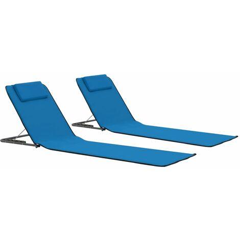 vidaXL Esteras de playa plegables 2 unidades acero y tela azul - Azul