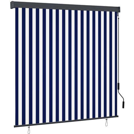 vidaXL Estor enrollable de exterior azul y blanco 160x250 cm - Azul