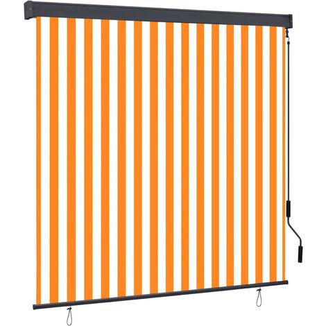 vidaXL Estor enrollable de exterior blanco y naranja 170x250 cm - Naranja