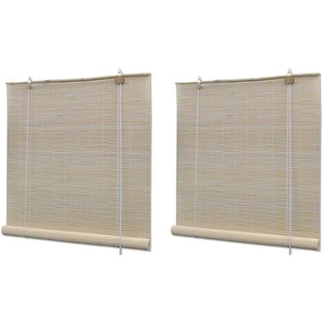 vidaXL Estores enrollables 2 unidades bambú natural 120x160 cm - Beige