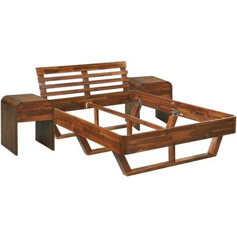 vidaXL Estructura de cama con 2 mesitas de noche acacia 140x200 cm - Marrón