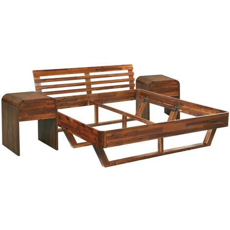 vidaXL Estructura de cama con 2 mesitas de noche acacia 180x200 cm - Marrón
