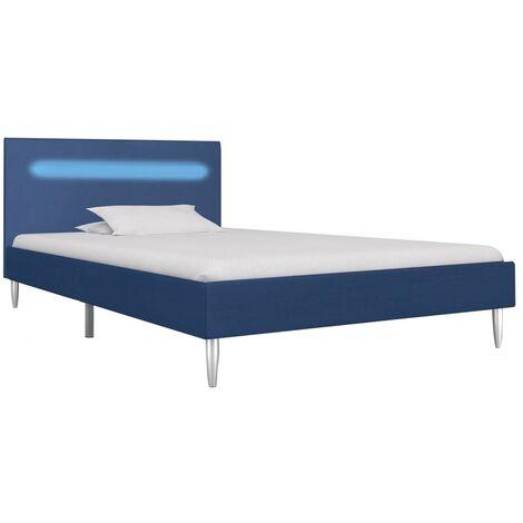 vidaXL Estructura de cama con LED de tela negra 90x200 cm - Nero