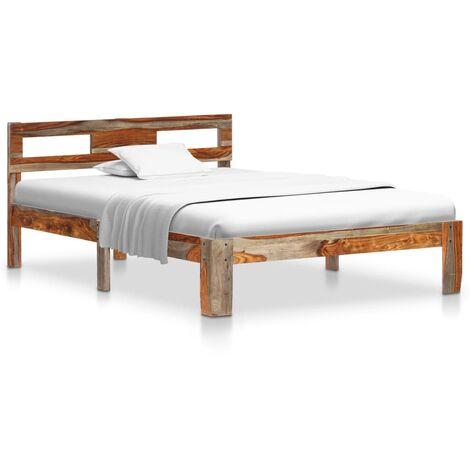 vidaXL Estructura de cama de madera maciza de sheesham 120x200 cm - Gris