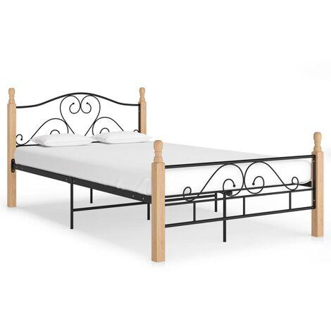 vidaXL Estructura de cama de metal negro 100x200 cm - Negro