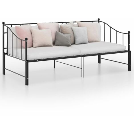 vidaXL Estructura de sofá cama extraíble de metal negro 90x200 cm - Negro
