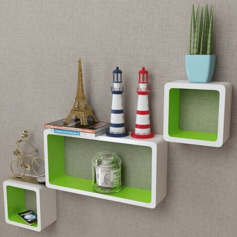 vidaXL Etagères Murales Forme de Cube MDF Meuble de Rangement Etagère Suspendue Flottante Organisateur de Cube Multicolore 3/6 pcs
