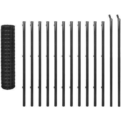 vidaXL Euro Fence Steel 25x1.2 m Grey - Grey