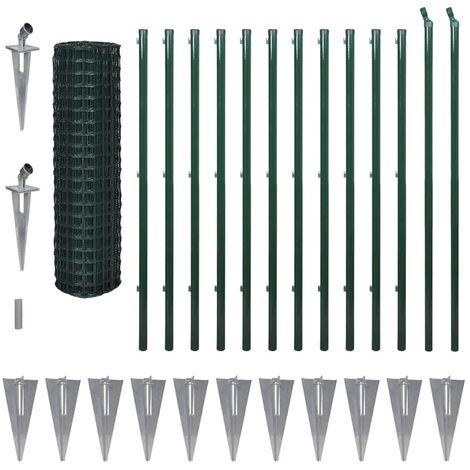 vidaXL Euro Fence Steel 25x1.7 m Green - Green