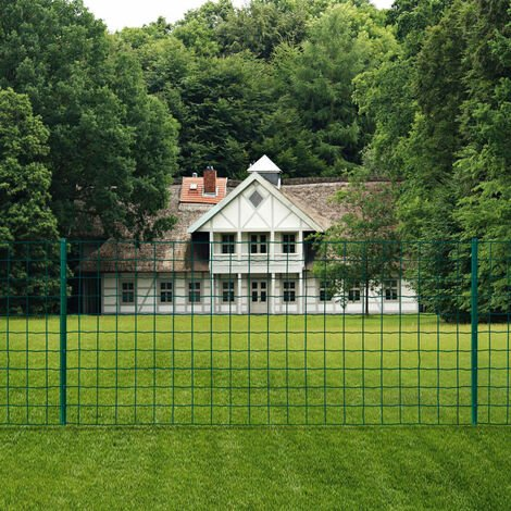 vidaXL Euro Fence Steel Green Patio Panel Garden Fence Landscape Bed Border Outdoor Area Field Safety Protector Wire Mesh Multi Sizes