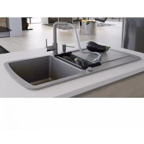 vidaXL Évier de cuisine en granit Double bac Gris