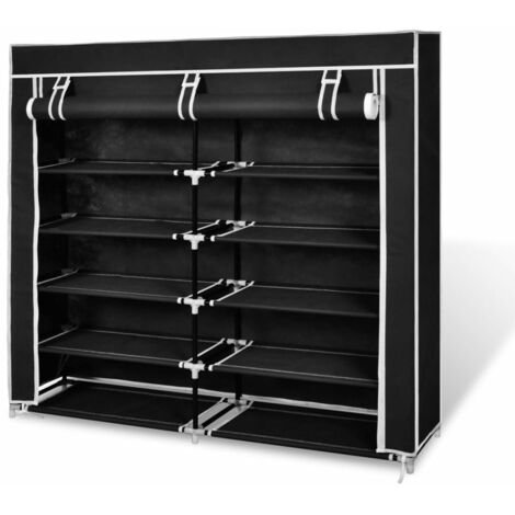 vidaXL Fabric Shoe Cabinet with Cover 115 x 28 x 110 cm Black - Black