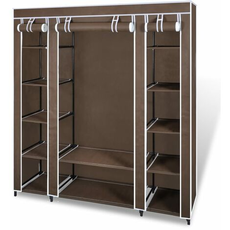 vidaXL Fabric Wardrobe with Compartments and Rods 45x150x176 cm Portable Clothes Storage Cupboard Unit Organizer Bedroom Black/Brown