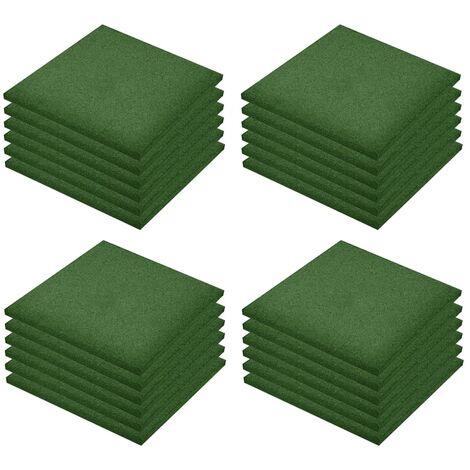 "main image of ""vidaXL Fall Protection Tiles 24 pcs Rubber 50x50x3 cm Green - Green"""