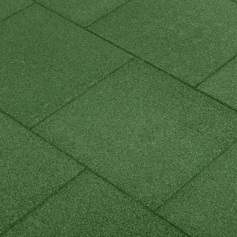 vidaXL Fall Protection Tiles 6 pcs Rubber 50x50x3 cm Green - Green