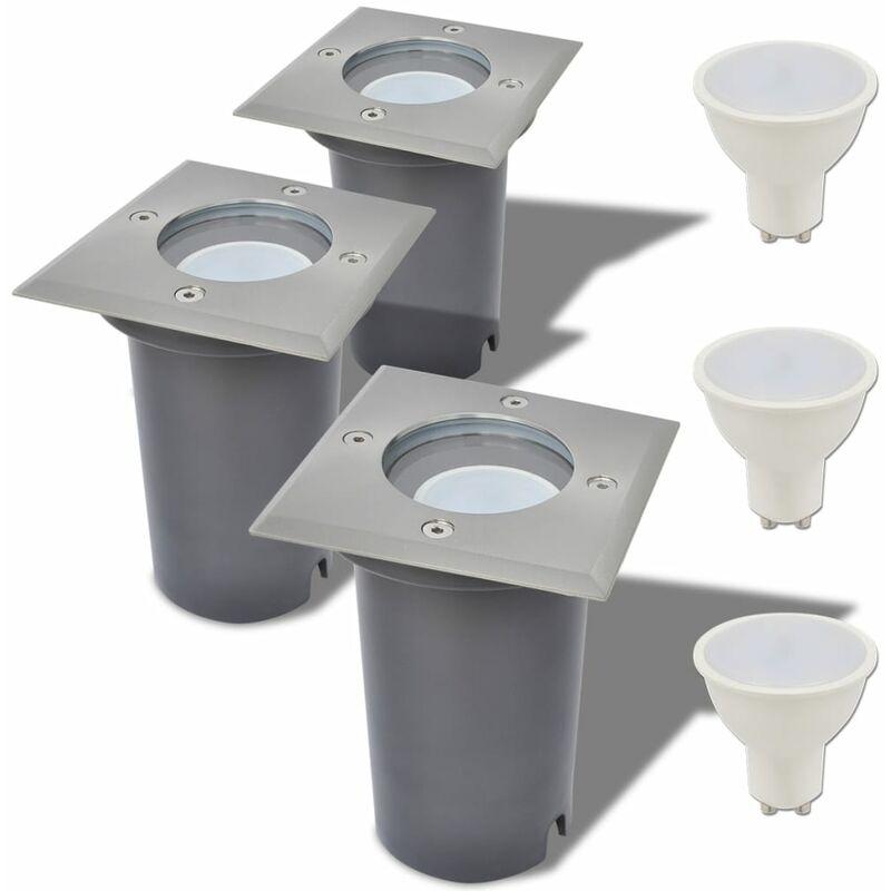 Faretti Carrabili a LED 3 pz Quadrati per Esterno - Argento - Vidaxl