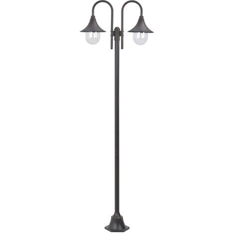 vidaXL Farola de jardin con 2 luces aluminio color bronce E27 220 cm
