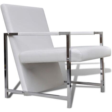vidaXL Fauteuil avec Pieds Chromés Similicuir Fauteuil de Salon Meuble de Salon Fauteuil de Salle de Séjour Chambre Maison Intérieur Blanc/Noir